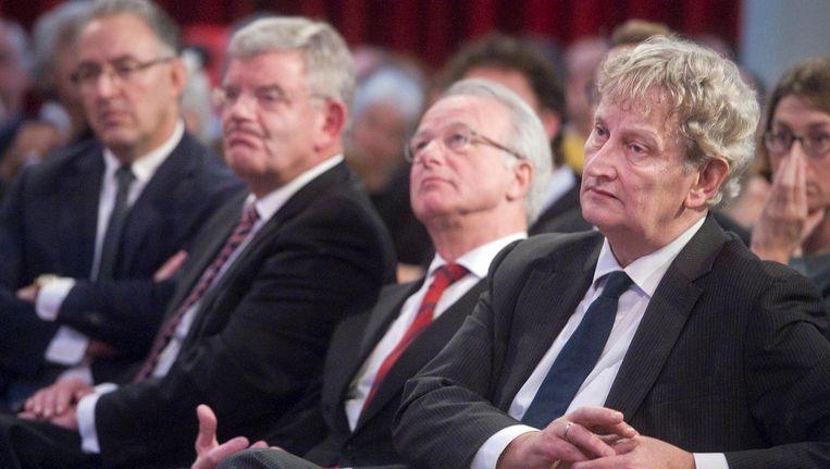 Burgemeester Aboutaleb (Rotterdam), Van Zanen (Utrecht), Van Aartsen (Den Haag) en Van der Laan (Amsterdam) tijdens een bijeenkomst in de Rode Hoed in 2015. Beeld anp