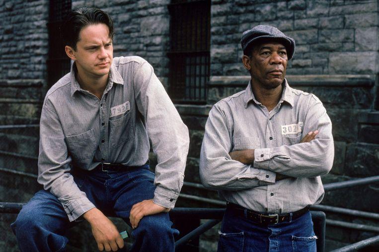 Tim Robbins en Morgan Freeman in The Shawshank Redemption. Beeld