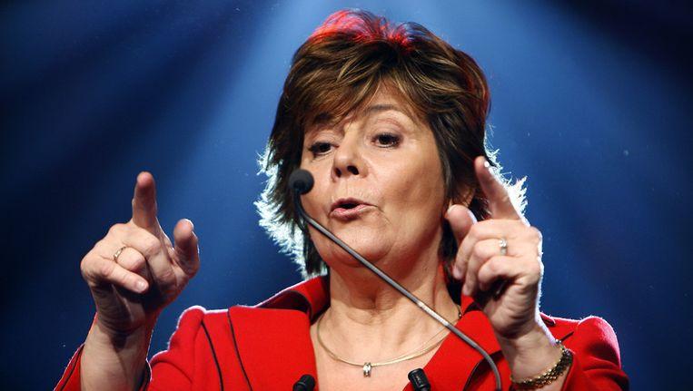 Rita Verdonk bij de presentatie van Trots op Nederland in april 2008 in de Passenger Terminal in Amsterdam. Beeld anp
