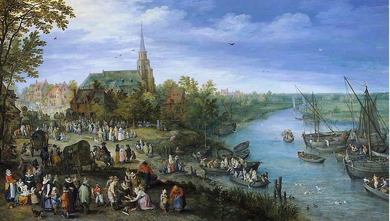 Jan Brueghel de Oude (1568 - 1625) schilderde in 1614 het 'Jaarlijkse inwijdingsfeest van de Petrus en Pauluskerk in Schelle' en toont de Benedenvliet.