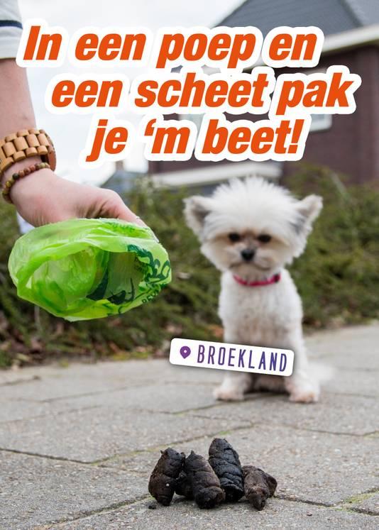 De strijd tegen overlast van hondenpoep verloopt in Broekland origineel. Geen ambtelijke decreten of politieagentje spelen, maar tot gewenst gedrag aanzetten met een knipoogje.