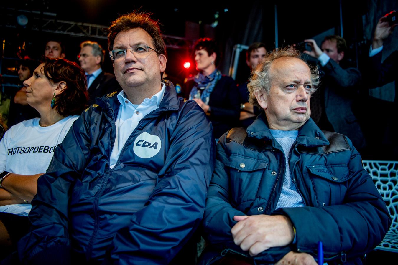 CDA-Kamerlid Jaco Geurts (links) tijdens het boerenprotest van vorige week dinsdag.