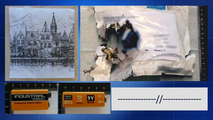 De afperser ondertekende de bombrieven met rechte en schuine streepjes (rechtsonder) en gebruikte een 9 Volt-batterij. Ook stopt de dader in elke envelop een papieren zakje met een aanzicht van Delft