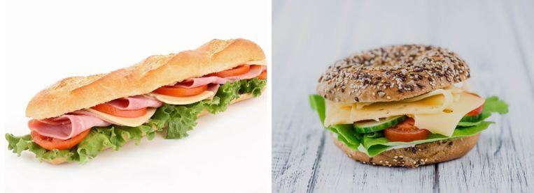De klassieke smos (links) is vooral calorierijk door de combinatie van ham en kaas. Kies op je volkoren broodje dus voor een van de twee.