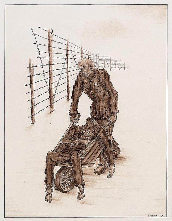 Monne de Miranda werd nadat hij door kapo's was bekogeld met bakstenen en zand, door medegevangene Elie Cohen in een kruiwagen teruggebracht naar het kamp.