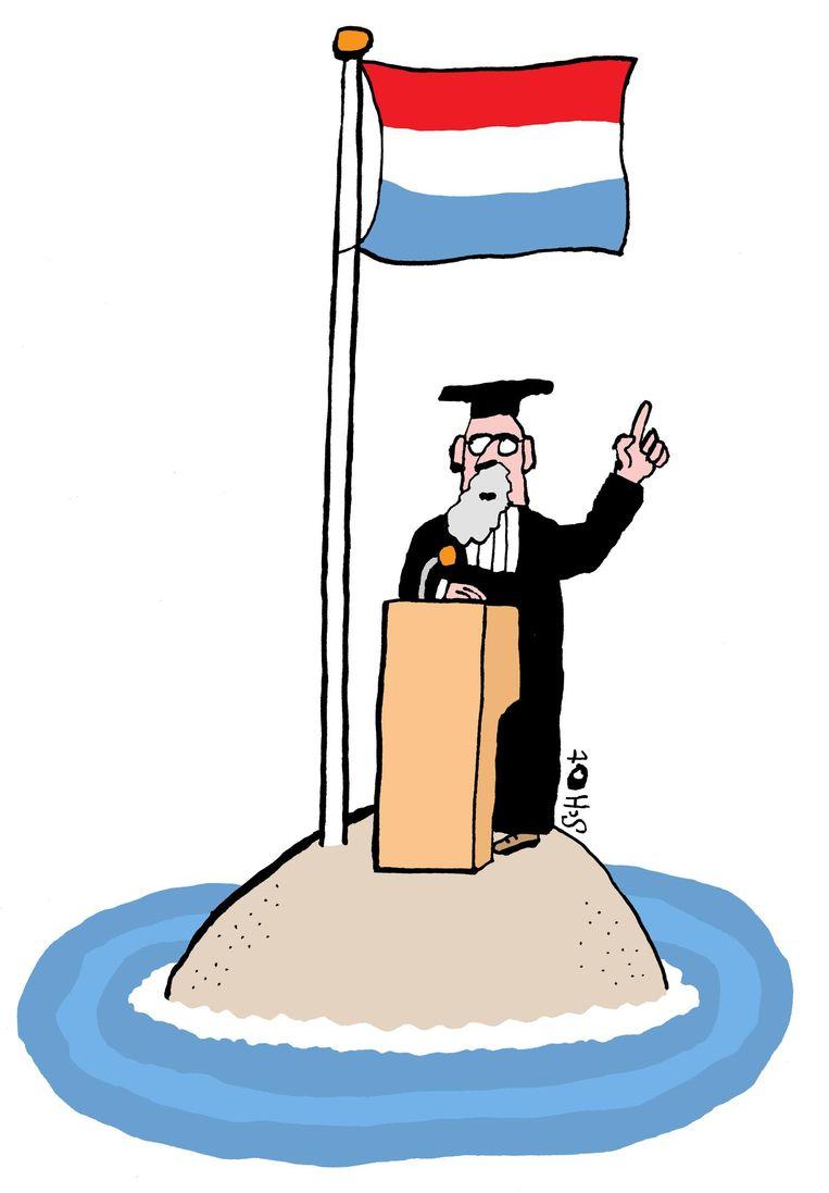 Een universiteit kan onmogelijk verdienstelijk zijn voor het bevorderen van de wetenschap als het op een linguïstisch eilandje in de eigen taal probeert wetenschap te bedrijven. Beeld Bas van der Schot / de Volkskrant