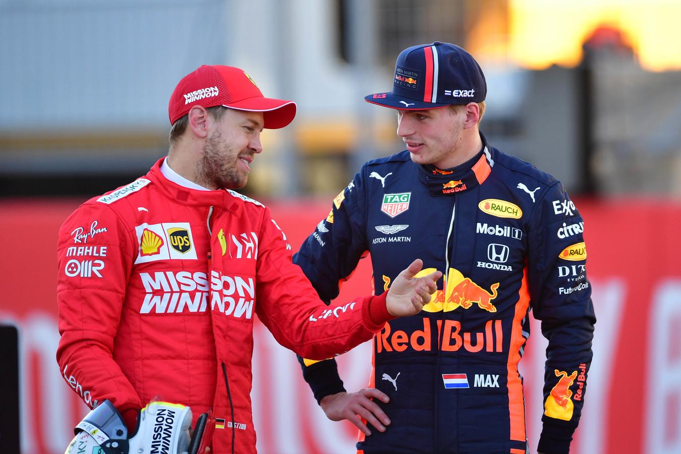 Sebastian Vettel en Max Verstappen