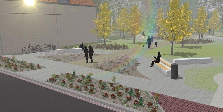 Een simulatiebeeld van het opgefriste park Noordhof.