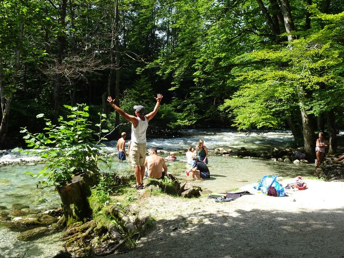 Bij 40 graden een verkoelende rivier vinden in het Beierse stadje Berchtesgaden.