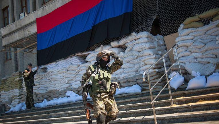 Pro-Russische separatisten in Slavjansk in Oost-Oekraïne Beeld ap