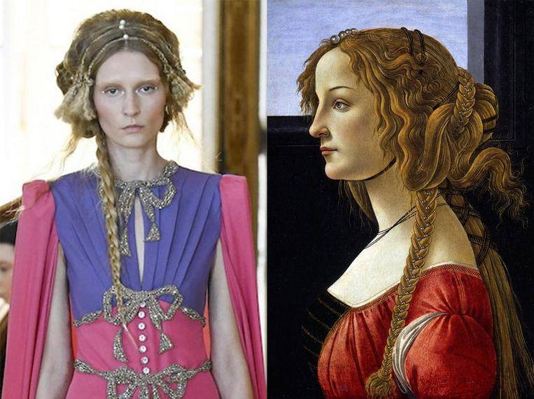 Links: een model van Gucci. Rechts: 'La Bella Simonetta' van Sandro Botticelli. Beeld