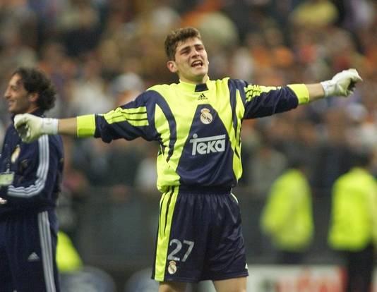 Iker Casillas na de gewonnen Champions League-finale op 24 mei 2000.
