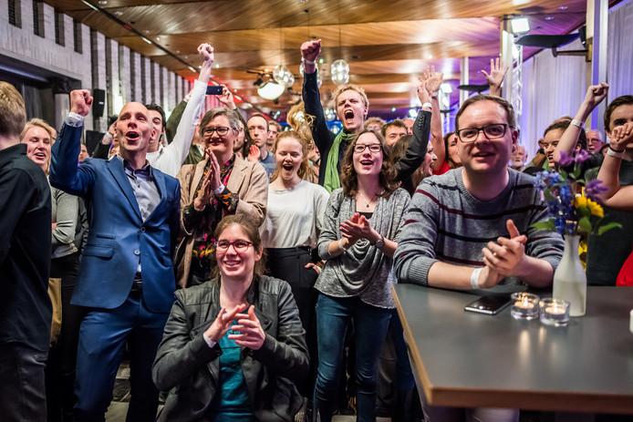 Voor de ene partij was er na de exitpoll in Gelderland reden tot juichen (GroenLinks - zie foto - en Forum voor Democratie),  voor andere partijen waren de druiven zuur (onder andere D66 en PVV).