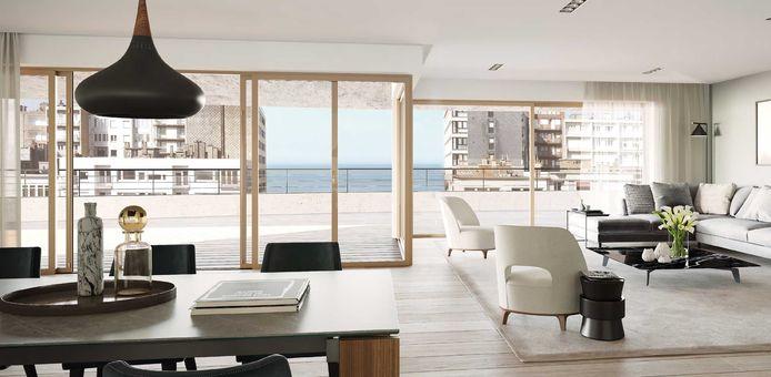 Oostende, The Waves, 2 slaapkamers, 87 m² en 25 m² terras. 275.000 euro