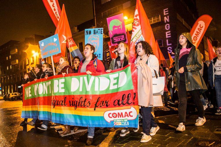 Heel wat jongeren liepen mee in de mars.