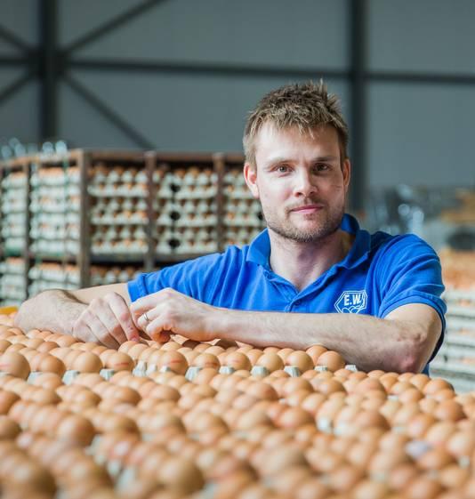 Eelco van Tilburg van eierhandel EWN zit met een miljoen geblokkeerde eieren.