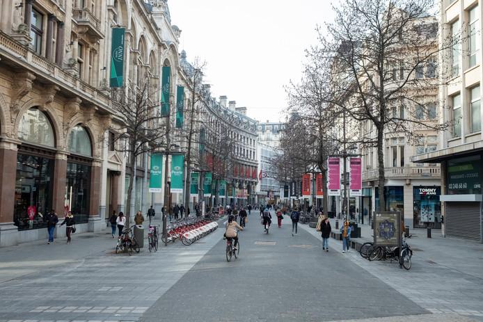 Door de staking beleefde shoppingstraten zoals De Meir een wel heel rustige woensdagnamiddag