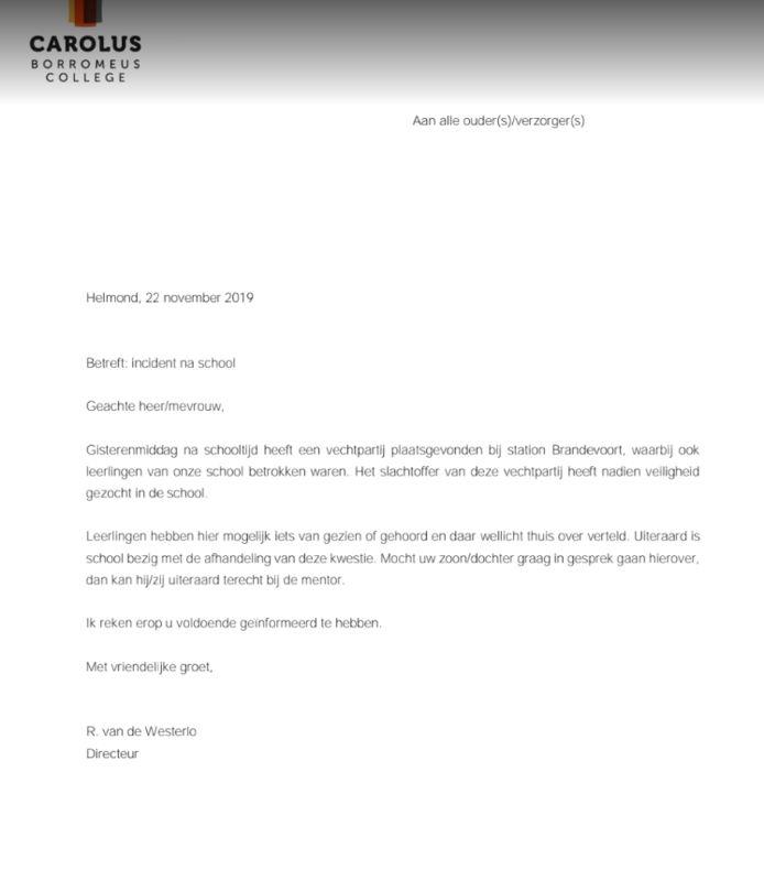 Brief naar aanleiding van vechtpartij van Carolus Borromeus College aan ouders en leerlingen