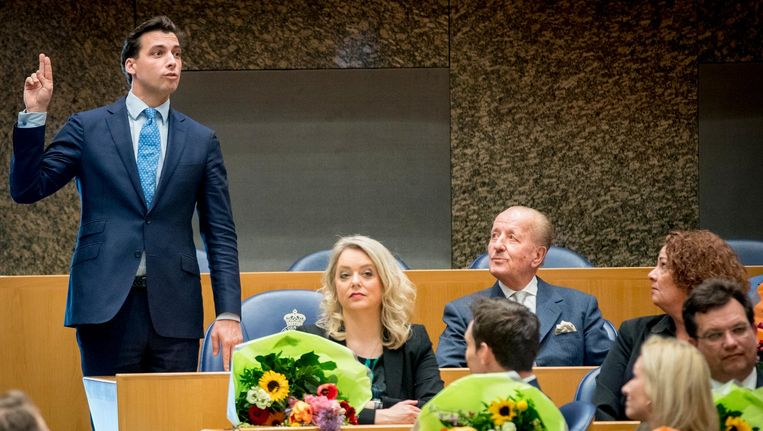 Thierry Baudet (FVD) tijdens de installatie van de nieuwe Kamerleden na de Tweede Kamerverkiezingen. Beeld anp