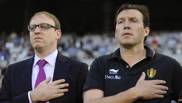 Nicolas Cornu naast bondscoach Marc Wilmots