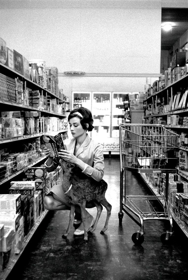 Audrey Hepburn doet inkopen met haar kleine ree.