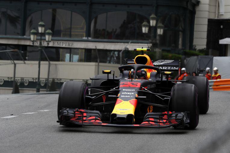 Verstappen in actie tijdens de Grand Prix van Monaco. De Limburger kwam niet verder dan de negende plaats. Beeld ANP
