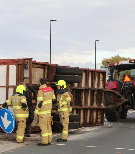 Veewagen klapt om in Veenendaal: de vier koeien overleven het ongeluk