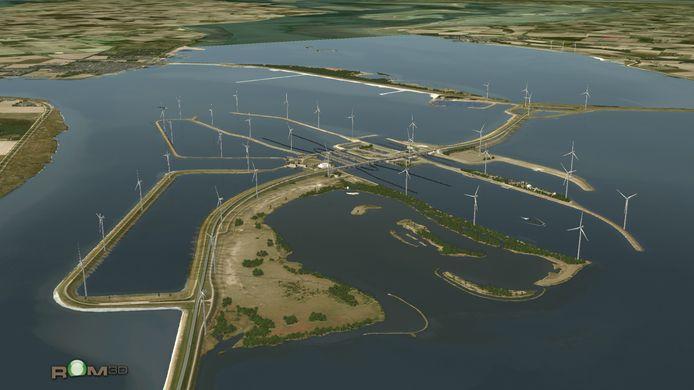 Animatiefoto van het Windpark Krammer zoals dat er in de toekomst uit moet gaan zien.