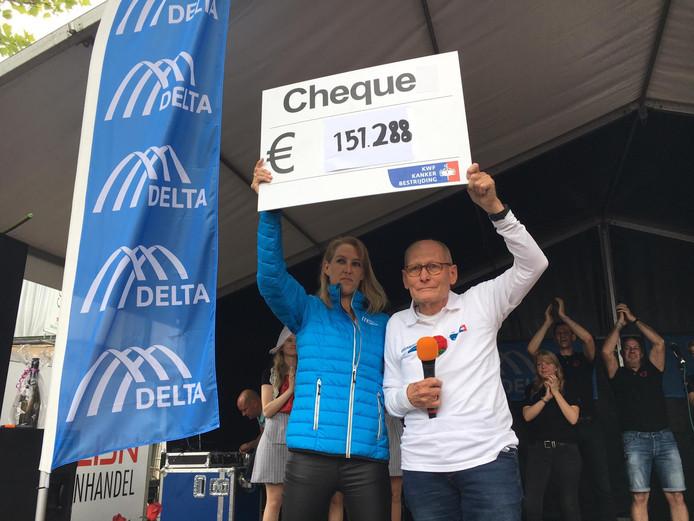 Mariska van der Hulst van Delta samen met penningmeester Theo Schouwenaar.