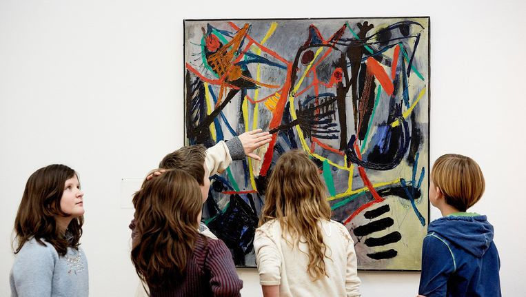 Voorbezichtiging van de tentoonstelling Retrospectief van het werk van Karel Appel in het Gemeentemuseum Den Haag. Beeld anp