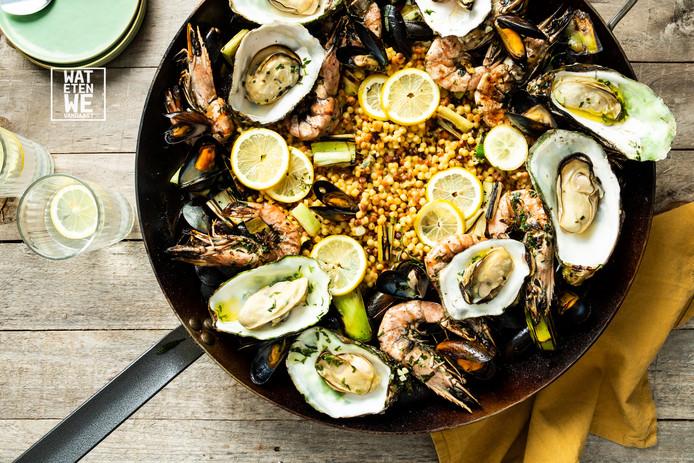 Mosselen, oesters en gamba's van de barbecue