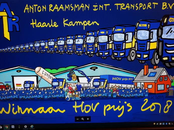 Deze cartoon van Haarlenaar Leo Kemper werd donderdagavond gepresenteerd aan de bezoekers van de nieuwjaarsreceptie van de HOV.