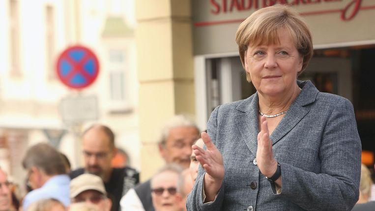 De Duitse bondskanselier Angela Merkel aan de vooravond van de deelstaatverkiezingen in haar heimat Mecklenburg-Voor-Pommeren.