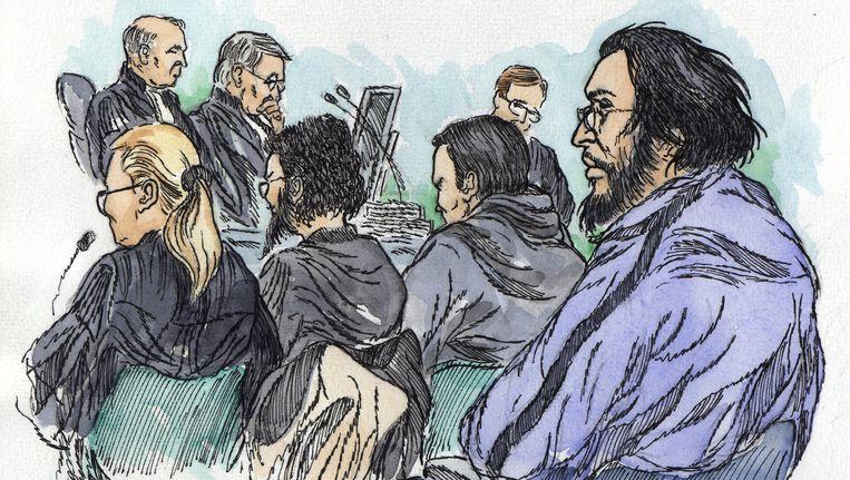 Rechtbanktekening van verdachten in de Hofstadgroepzaak. Beeld null
