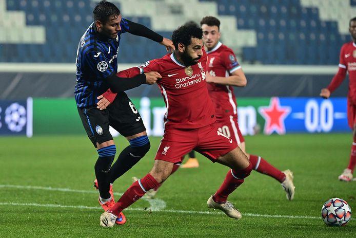 Mo Salah in actie tijdens de heenwedstrijd tegen Atalanta in Bergamo.