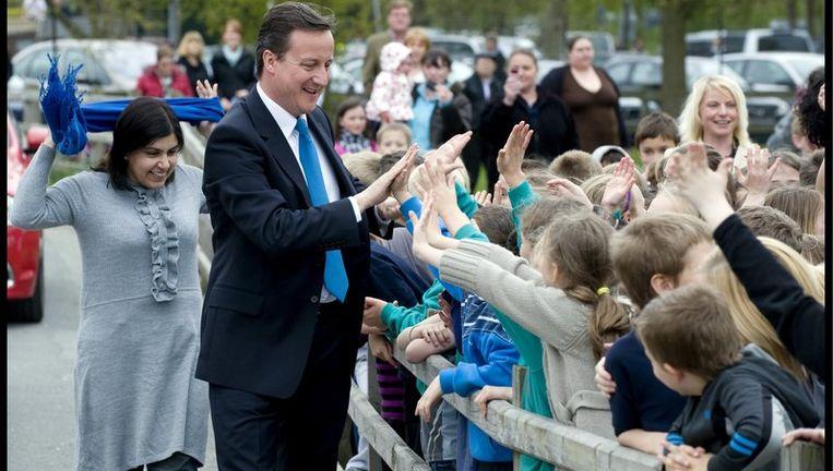 In de peilingen staat de partij van de Conservatieve oppositieleider David Cameron bovenaan met ongeveer 35 procent van de stemmen. Foto EPA Beeld