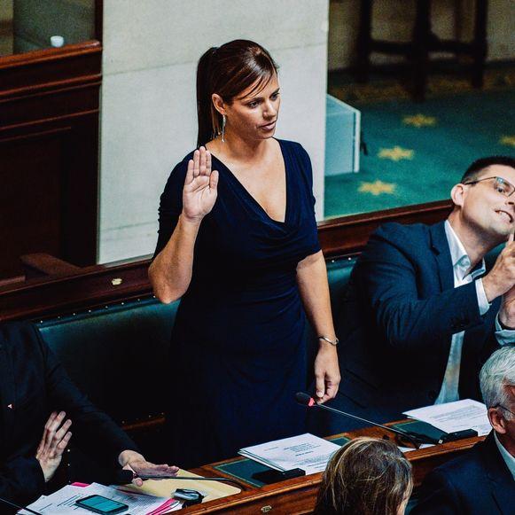 Marianne Verhaert legt haar eed af in de kamer van volksvertegenwoordigers