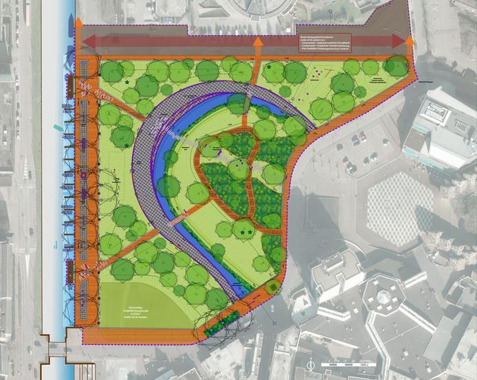 Het voorlopige ontwerp van het Havenpark zoals dat er over anderhalf jaar uit moet zien.