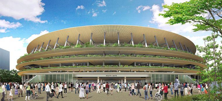 Ontwerp van het olympisch stadion van 2020 in Tokio. Beeld ap