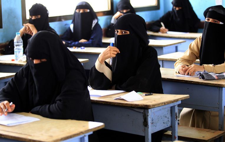 The final exams continue in Sanaa. Beeld AFP