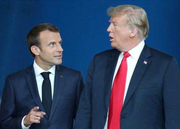 De Franse president Emmanuel Macron en Amerikaans president Trump.