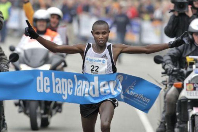 Geoffrey Mutai tijdens de marathon van Eindhoven in 2008. ANP Beeld