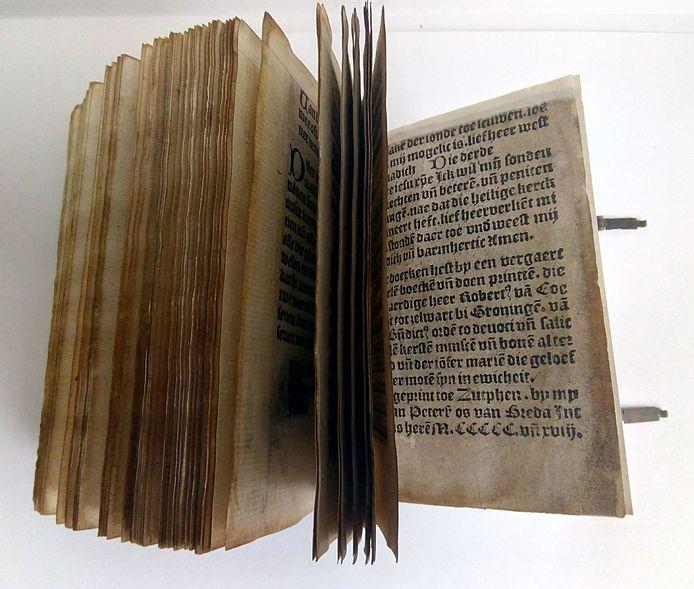Costelicke scat der geesteliker rijckdoem van Thieman Petersz. Os de Breda uit 1518 is het oudste in Zutphen gedrukte boek.