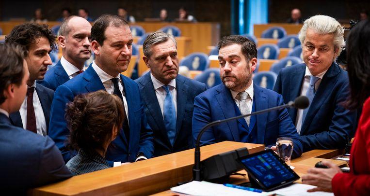 De fractieleiders bij het begin van het Kamerdebat over het klimaat. Beeld Freek van den Bergh