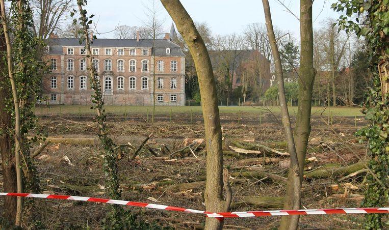 Aan het kasteel zijn heel wat bomen gerooid. Volgens de kasteelheer komt er wel nieuw groen in de plaats.