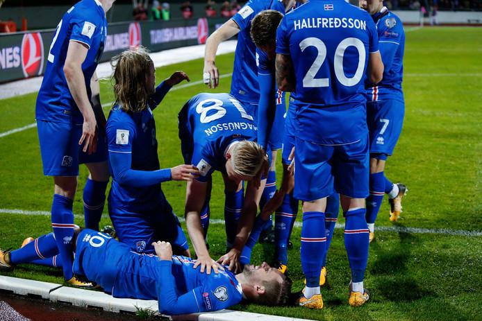 De spelers van IJsland vieren de openingstreffer van Gyfli Sigurdsson.