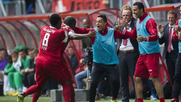 Edson Braafheid heeft FC Twente op 1-0 gezet. Beeld PROSHOTS