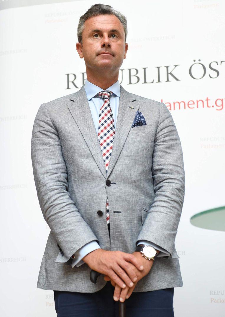 Norbert Hofer, kandidaat van de rechts-populistische FPÖ, en tevens lid van het driekoppige presidium van het Oostenrijkse lagerhuis. Beeld afp