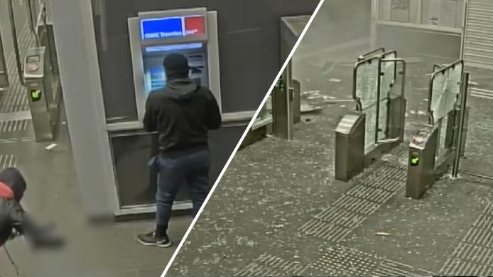 De twee daders bevestigen de explosieven in de pinautomaat.