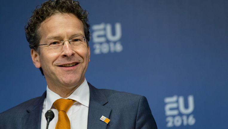 Eurogroepvoorzitter Jeroen Dijsselbloem na afloop van het overleg met de ministers van Financiën van de eurozone in het Amsterdamse Scheepvaartmuseum. Beeld anp